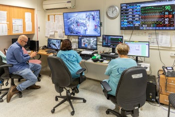 The coronavirus control room at Hasharon Hospital in Petah Tikva, April 13, 2020.