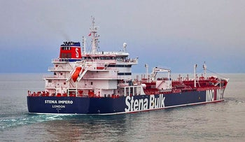 The British oil tanker Stena Impero, which was captured by Iran in July 2019, seen in an undated photo issued Friday July 19, 2019.