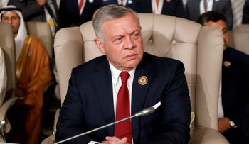 Jordan's King Abdullah II attends the 30th Arab Summit in Tunis, Tunisia, March 31, 2019