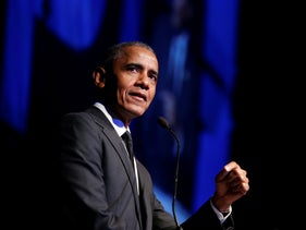 Former President Barack Obama accepts the Robert F. Kennedy Human Rights Ripple of Hope Award at a ceremony, New York, December 12, 2018
