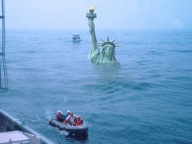 Scientists boarding the D/V JOIDES Resolution off New Jersey in 1993. The sea level in an ice-free world would be shoulder-high to the Statue of Liberty.