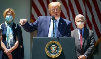 US President Donald Trump speaks at a White House coronavirus update, flanked by Coronavirus Task Force head Deborah Birx and National Institute of Allergy and Infectious Diseases head Anthony Fauci. May 15, 2020