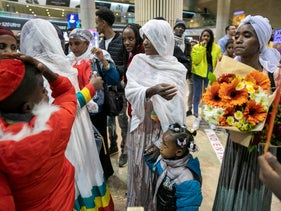 Ethiopian immigrants welcomed at Ben-Gurion airport, February, 25, 2020.