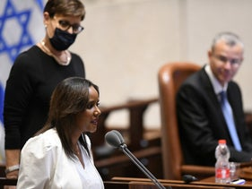 Pnina Tamano-Shata addressing the Knesset after being sworn in as immigrant absorption minister, May 17, 2020.