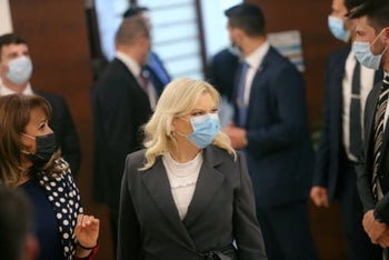 Sara Netanyahu, wife of Prime Minister Benjamin Netanyahu, during the swearing-in of Israel's 35th goernment at the Knesset, May 17, 2020