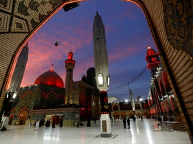 Shi'ite Muslims visit the Imam Ali shrine during the holy month of Ramadan, Najaf, Iraq, May 14, 2020.