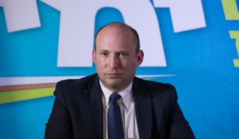 Outgoing Defence Minister and Habayit Hayehudi MK Naftali Bennett at a press conference, Eilat, May 14, 2020