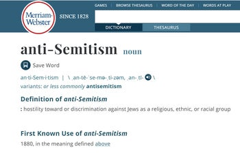 The Merriam-Webster definition of anti-Semitism.