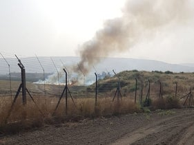 A fire that broke out after IDF troops shot a man attempting to cross the border with Jordan illegally in northern Israel, May 20, 2020.