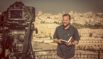 "Ron Cantor recording an episode of ""Out of Zion"" in Jerusalem for Shelanu TV."