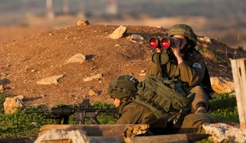 Two female soldiers in an observation post on the Gaza border, February 4, 2020.