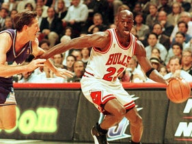 Michael Jordan in action for the Chicago Bulls during the NBA Finals against Utah Jazz in 1997.