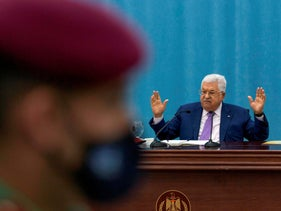 Palestinian President Mahmoud Abbas heads the Palestinian leadership meeting at his headquarters, in the West Bank city of Ramallah, May 5, 2020