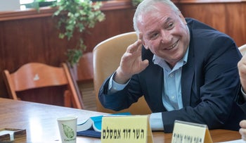 Minister David Amsalem (Likud), responsible for liaison between the cabinet and the Knesset, in a government meeting in Jerusalem, October 2019.