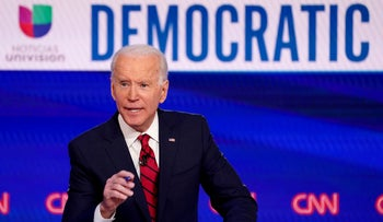 Biden speaks during the 11th Democratic candidates debate of the 2020 U.S. presidential campaign in Washington, U.S., March 15, 2020