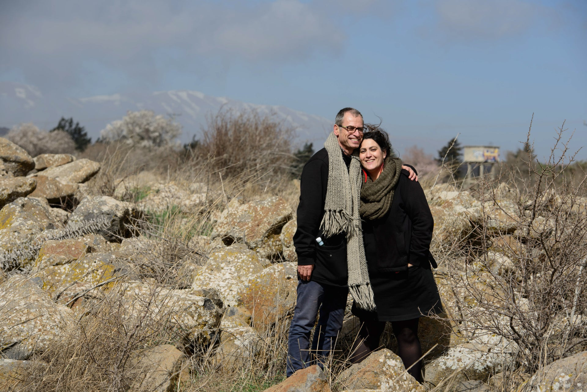 Eitan Bronstein Aparicio and his partner, Eléonore Merza, in the Golan Heights.