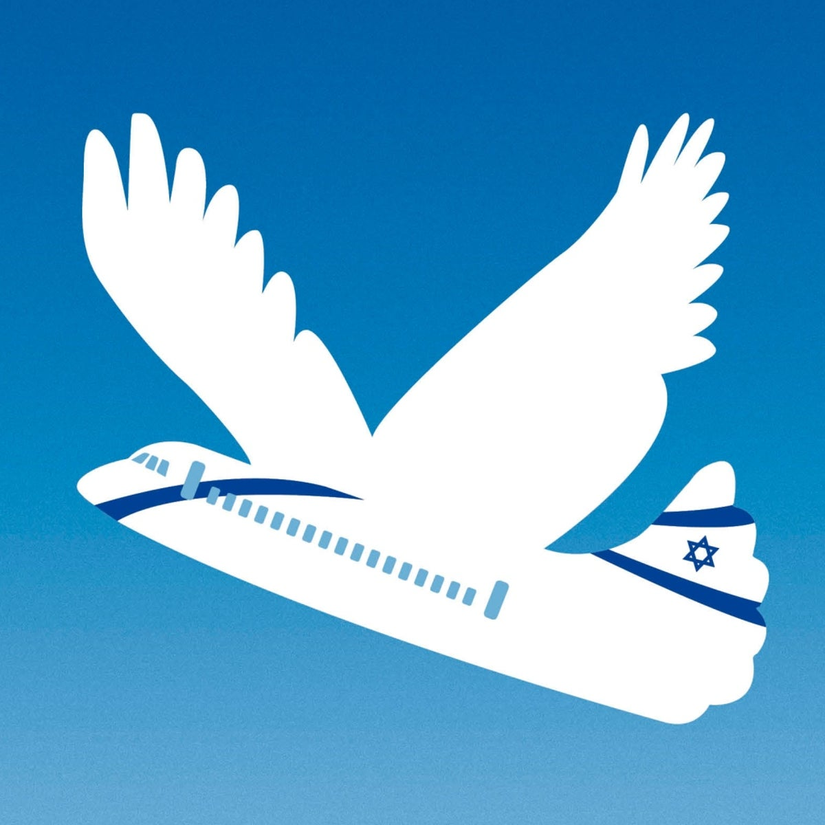 An illustration depicting a composite of a white dove and an El-Al plane taking off.