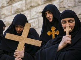 An Easter procession along the Via Dolorosa in Jerusalem.