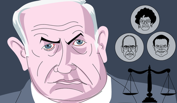 Benjamin Netanyahu and the three judges he'll face at the Jerusalem District Court starting on May 24, 2020.