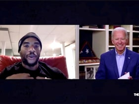 U.S. Democratic presidential candidate Joe Biden is seen in an image captured from video participating in a remote video interview with radio host Charlamagne tha God, May 22, 2020.