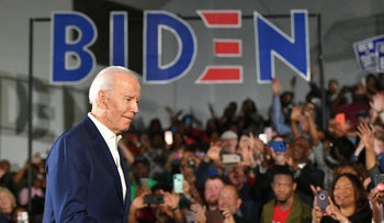 Democratic presidential candidate Joe Biden arriving for a rally at Tougaloo College in Tougaloo, Mississippi, March 8, 2020.