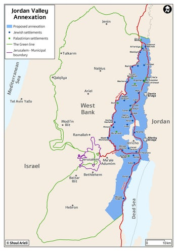A map showing the Jordan Valley annexation plan.