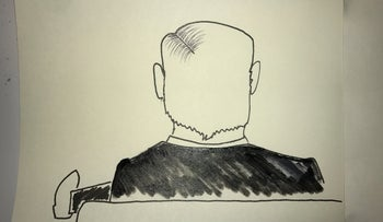 Illustration of Prime Minister Benjamin Netanyahu during the first day of trial, Jerusalem, May 24, 2020.