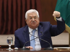 Palestinian President Mahmoud Abbas speaks during the Palestinian leadership meeting at his headquarters in the West Bank city of Ramallah, on May 19, 2020.