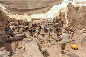 Archaeologists digging in Area K of Megiddo, which provided most the samples from this site for the Canaanite DNA study