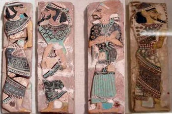 Tiles from the reign of Ramesses III depicting captive Canaanites and Shasu leaders, Currently in the Egyptian Museum, Cairo. JE 36457 + JE 36597