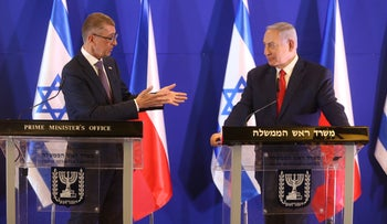 Czech Prime Minister Andrej Babis (L) and Prime Minister Benjamin Netanyahu is a joint press conference in Jerusalem, 2019.