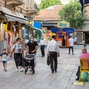 A street in central Jerusalem revives a bit from the coronavirus crisis, May 2020.