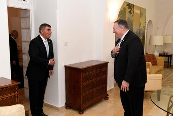 US Secretary of State Mike Pompeo meeting with Foreign Minister Gabi Ashkenazi in Jerusalem, May 13, 2020.