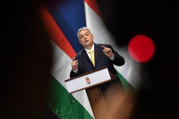 Hungarian Prime Minister Viktor Orban speaking during a press conference in Budapest, January 9, 2020.