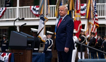 President Donald participates in a Memorial Day ceremony at Fort McHenry National Monument and Historic Shrine, Monday, May 25, 2020, in Baltimore
