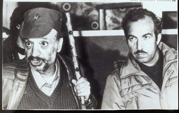 Abu Jihad, assassinated by the Mossad in 1988 in Tunisia, pictured with PLO leader Yasser Arafat.