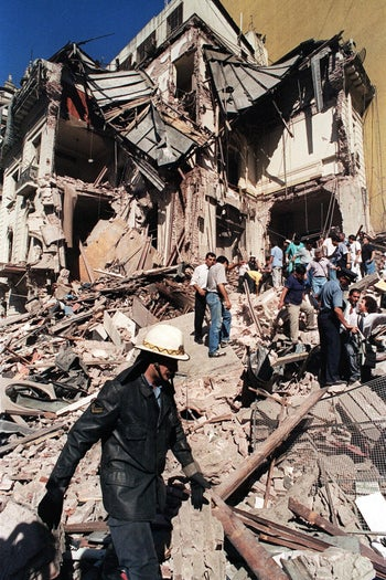 The devatated Israeli Embassy in Buenos Aires after a massive bomb attack by Hezbollah operatives left 29 people dead in the Argentine capital, March 17, 1992.