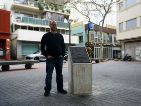 Dani Rotstein stands next to a monument commemorating the Jews of Palma de Mallorca, Spain, February 13, 2019.