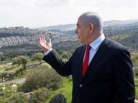 Israeli Prime Minister Benjamin Netanyahu visits the area where a new neighborhood is to be built in the East Jerusalem settlement of Har Homa, February 20, 2020.