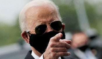 Democratic U.S. presidential candidate and former Vice President Joe Biden is seen at War Memorial Plaza during Memorial Day, amid the outbreak of the coronavirus disease (COVID-19), in New Castle, Delaware, U.S. May 25, 2020