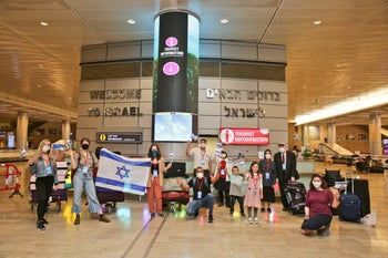 A group of immigrants at Ben Gurion Airport, Tel Aviv, after arriving from New York, May 5, 2020.