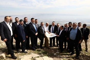 Yesha Council members conduct a tour of the Jordan Valley for then-Interior Minister Arye Dery, January 27, 2020.