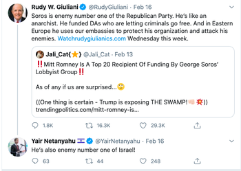 Yair Netanyahu backs Rudy Giuliani's assertion that Soros is the GOP's 'number one enemy': 'He's also enemy number one of Israel!'
