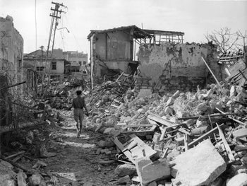 Picture showing the destruction in the captured Manshiah quarter in Jaffa, Palestine, May 8, 1948.