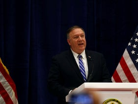 U.S. Secretary of State Mike Pompeo speaks during a news conference in Doha, Qatar February 29, 2020.