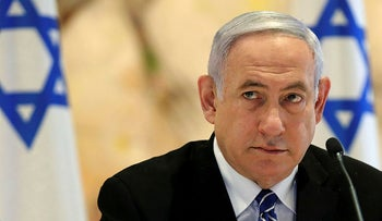 Israeli Prime Minister Benjamin Netanyahu attends a cabinet meeting of the new government at Chagall State Hall in the Knesset in Jerusalem on May 24, 2020.