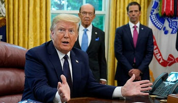 President Donald Trump speaks as he receives a briefing on the 2020 hurricane season in the Oval Office of the White House, May 28, 2020.