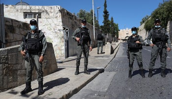 Israeli police near the Lion's Gate in Jerusalem, where Hallaq was shot, May 30, 2020.