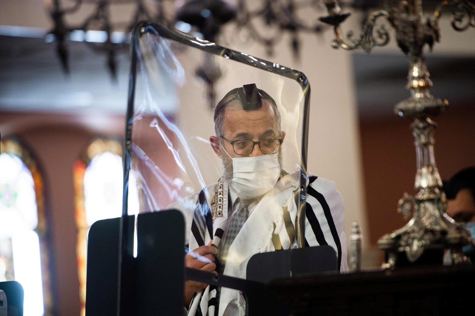 An illustrative photo showing the chief rabbi of Marseille, Ruben Ohana, during a morning public prayer at The Great Synagogue of Marseille, May 28, 2020.