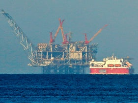 A view of the platform of the Leviathan natural gas field in the Mediterranean Sea, December 19, 2019